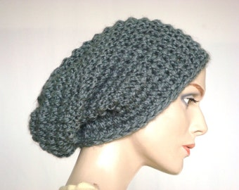 Hand Knit Hat Knit Slouch Hat Chunky Knit Hat for Women in Grey --- Ready to Ship
