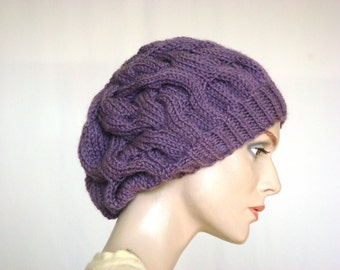 Hand Knit Hat Slouch Hat Beret Hat Cable Hat For Women Fall Fashion Winter Fashion --- Ready to Ship
