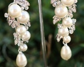 Pearl Earrings- Wedding Jewelry, Bridal Earrings, Swarovski , Lamor Swarovski crystal and pearl bridal  earrings