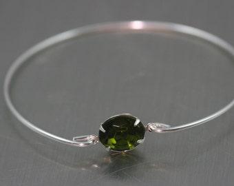 Olive green vintage glass silver bangle