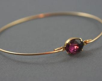 Single stone  eggplant purple gold modern  bangle