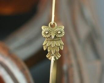 Antique Wise Owl thin gold bangle bracelet