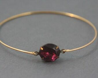 Single stone red wine  Bangle bracelet