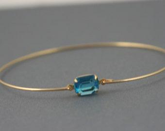 Blue Topaz glass gold Bangle bracelet