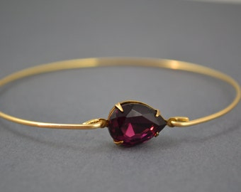 Single stone Ametyst tear modern  bangle bracelet