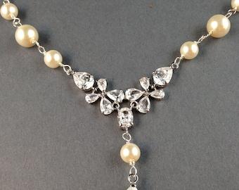 Swarovski Bridal Pearl Necklace, Pearl Necklace, Crystal Necklace, Bridal jewelry, Wedding Necklace, (Natasha)
