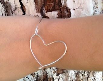 My Big Open heart  Silver bangle