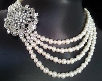 Emily Swarovski crystal multiple  strand pearl necklace