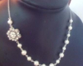 Blooming Lotus  Swarovski pearl necklace