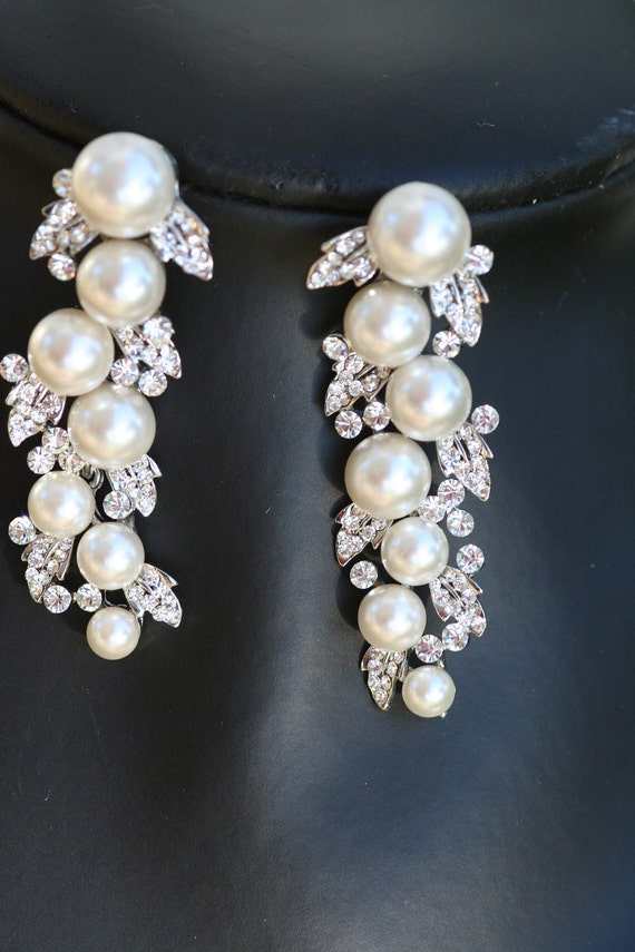 Petals and pearls Swarovski crystal and pearl bridal  earrings