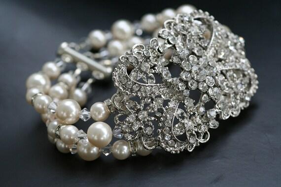 Ella Victorian style triple strand pearl bridal bracelet, Multi strand bridal bracelet, Crystal Bracelet, Swarovski Vintage Cuff