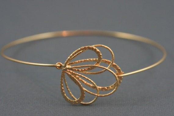 Feather bangle, Gold bangle, flower bangle , Gold bracelet