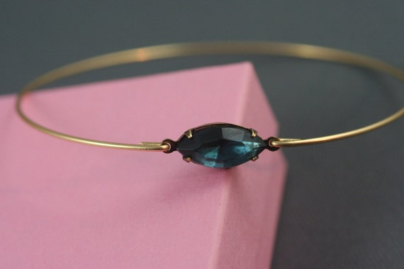 Single stone  Montana blue vintage glass  gold modern  bangle