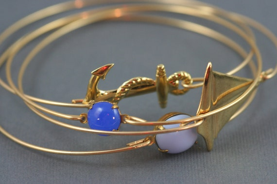 The sail nautical modern thin bangle set simplychic93