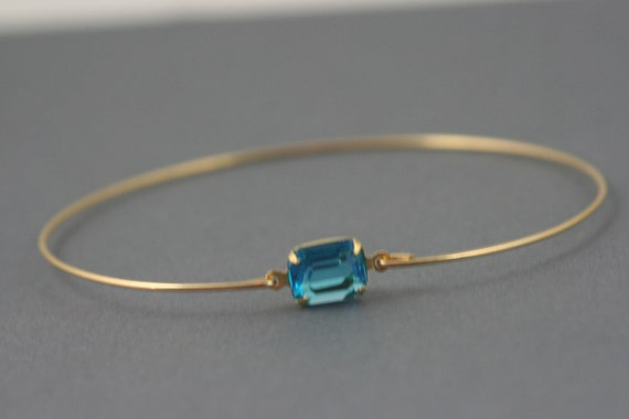 Blue Topaz glass gold Bangle bracelet