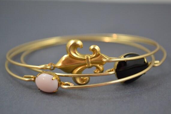 Fleur De Lis bangle bracelet , Gold bangle, Gold bracelet, French Bracelet