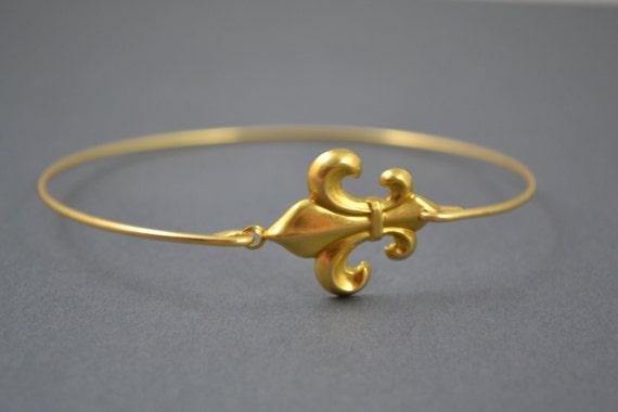 Brass Gold Fluer De Lis modern  bangle bracelet, Unique Gold Bracelet,Traveling to France , French Jewelry, Cross Bangle, Bridesmaids Gift