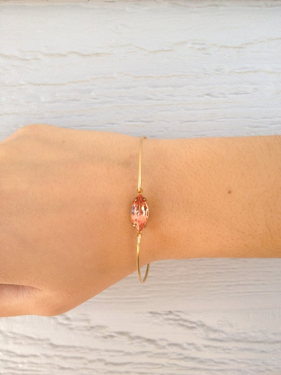 Single stone peach Gold bangle bracelet