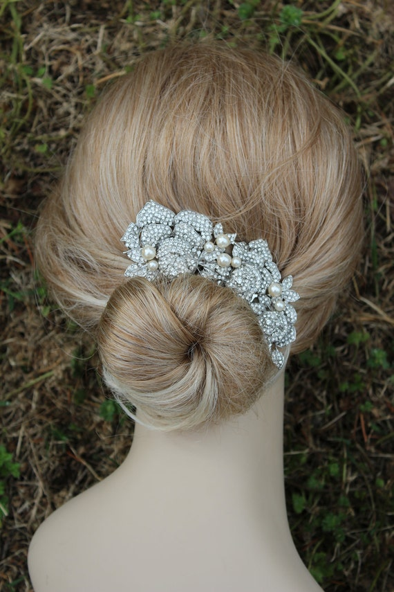 SALE- Bridal Hair comb, Crystal Hair Comb, Swarovski comb, Roses, Hair Flower, Wedding Accessories,pearl hair comb,(Rosetta )