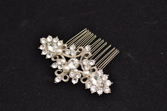 Sandy Swarovski crystal and pearl elegant bridal hair comb