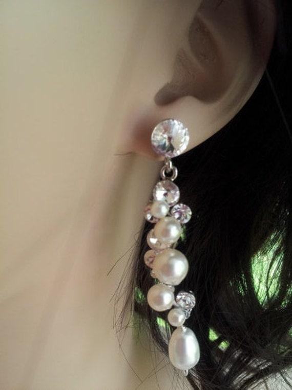 Mila Swarovski crystal and pearl bridal earrings