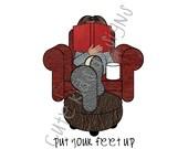 Put Your Feet Up, Personalised Printable Digital Art, A4 Print, Free Printable Card