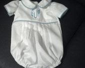 Custom white pique boys romper Newborn thru 12 months