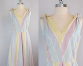 Vintage 50s Summer Dress. Pastel Sundress. Day Dress. Sunshine Stripes. Matching Jacket. Set.