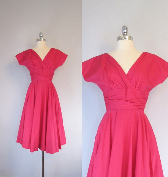 RESERVED. 1950s Day Dress. Hot Pink Number. Full skirt.