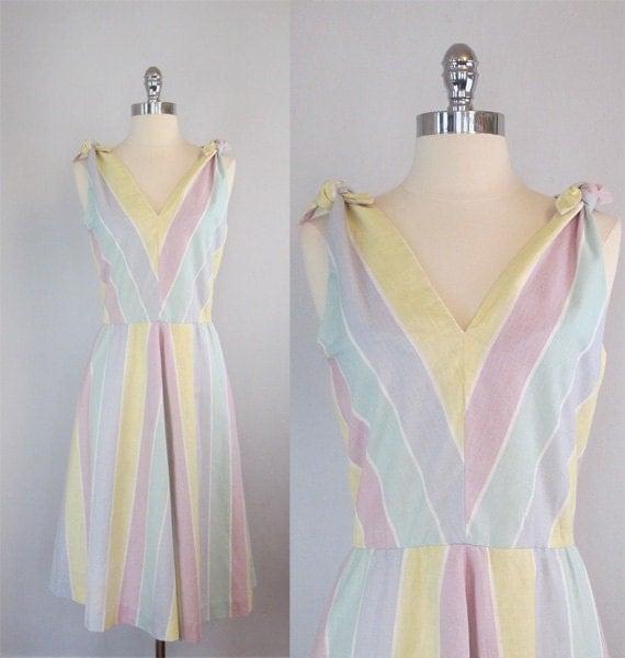 Vintage 50s Summer Dress. Pastel Sundress. Day Dress. Sunshine Stripes. Matching Jacket. Set.