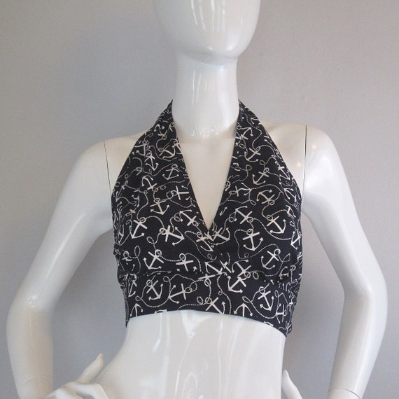 nautical halter top / anchor print / pin up top / 1960s / hello sailor