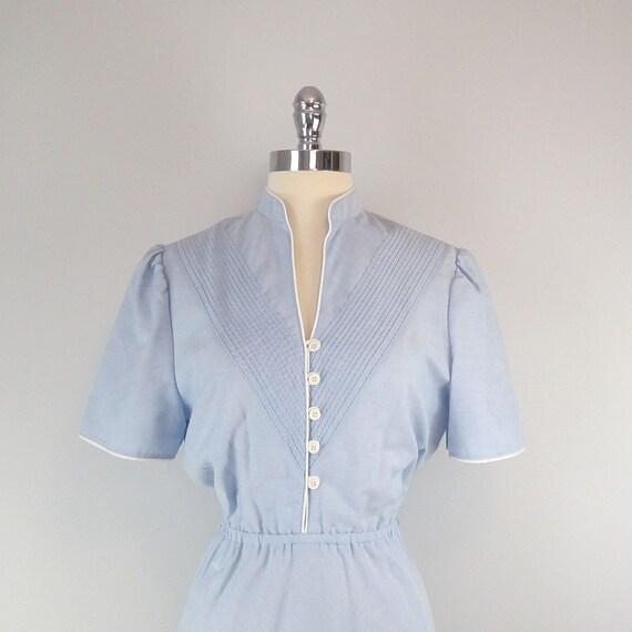 Vintage Chambray Dress. Blue. White. Day Dress. Picnic Perfect.