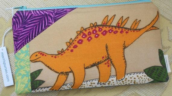 "Dinosaur Pencil Case CHILDREN'S William Morris PATCHWORK Style ""Spike"""