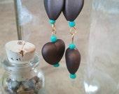 Brown and Turquise Dangle Bead Earrings