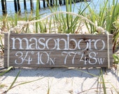 CUSTOM latitude and longitude sign of your favorite location- beach, home, vacation, honeymoon