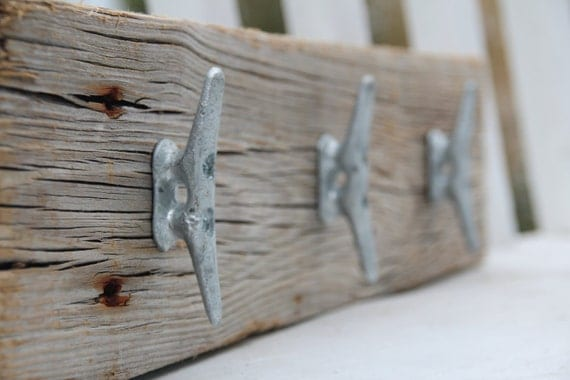 "Nautical coat rack with boat cleats, made from reclaimed wood, 18"" with 3 cleats"