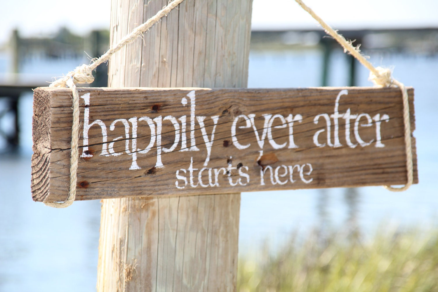 happily ever after starts here reclaimed wood wedding sign