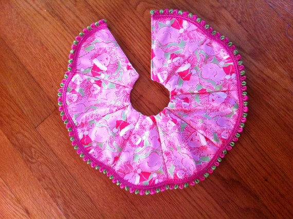 Tabletop Christmas tree skirt made with Lilly Pulitzer fabric