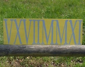 Unique painted wood roman numerals wedding date established sign-  bridal showers, anniversary, birthday