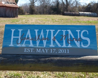 Beach theme wedding last name est. handpainted sign. Makes a great bridal shower, anniversary, birthday or anytime gift.