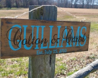 Personalized Hand painted, indoor/outdoor distressed wood wedding established last name sign- birthday, bridal shower, anniversary