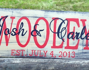 Personalized handpainted family name sign