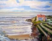 Ocean Home, Pacific Northwest Art, Farmhouse by the Sea, Garden by The Sea, Oceanside Home, 36 x 25 Dan Leasure Original Oil