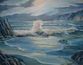 Pacific Splendor, Ocean Art, Moonlit Blue Night, Majestic Ocean, Framed 36 x 24 in. Dan Leasure Oil