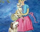 Little Girl and Her Family, Childrens Room Art, Girl Dog Cat Nostalgic Art, 16 x 20 painting, Framed, Original Oil, Dan Leasure