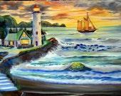 Oregon Lighthouse, Lighthouse Keepers House, Ocean Lighthouse, Sunset Oil, Dan Leasure Oil