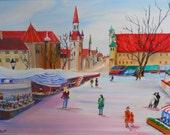 RESERVED for Rosie, Rosies Germany,Around The World Art, German Market, Memory Art, Dan Leasure Oil 25 x 19in.