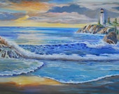 Lighthouse Witness To Sunset, Ocean, Lighthouse, Sunset on The Pacific, Dan Leasure Oil, 35 x 33 Gallery Wrapped