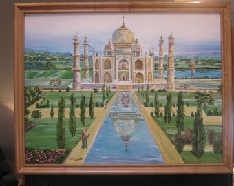 The Taj Mahal, Around The World Art, Wonder of The World, Taj Mahal, Dan Leasure Oil, 36 x 28in. framed