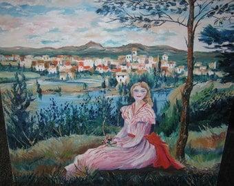 Sunday Girl, Portrait of a Lady, Girl on Hillside, 26,23 in., Dan Leasure Oil
